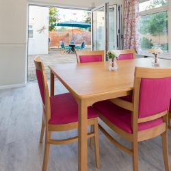 Our spacious care home dining room