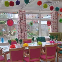 Table laid for Spanish Day at Friary Care